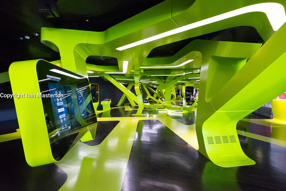 Interior of interactive visitors centre at VW Volkswagen Visitor Centre at Autostadt in Wolfsburg, Germany