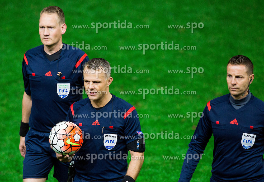 Referees Sander van Roekel,  Bjoern Kuipers and Erwin Zeinstra (all NED) during the EURO 2016 Qualifier Group E match between Slovenia and Lithuania, on October 9, 2015 in SRC Stozice, Ljubljana Slovenia. Photo by Vid Ponikvar / Sportida