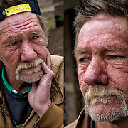 Portrait of  Patrick, a Vietnam War Veteran on SSI, is just one of Atlantic City's invisible homeless, out side on the street looking for a hand out. <br />