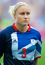 COVENTRY, ENGLAND - Friday, August 3, 2012: Great Britain's Stephanie Houghton lines-up for the national anthems during the Women's Football Quarter-Final match between Great Britain and Canada, on Day 7 of the London 2012 Olympic Games at the Rioch Arena. Canada won 2-0. (Photo by David Rawcliffe/Propaganda)