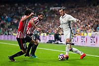 Real Madrid's Gareth Bale and Athletic de Bilbao's Inigo Lekue and Raul Garcia during La Liga Match at Santiago Bernabeu Stadium in Madrid. October 23, 2016. (ALTERPHOTOS/Borja B.Hojas)