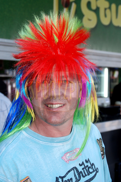 CENTURION, SOUTH AFRICA - 30 April 2009.  Some would say this spectator is having a bad hair day during the IPL Season 2 match between the Deccan Chargers and Delhi Daredevils held at Centurion, South Africa