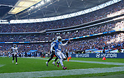 LONDON, ENGLAND - OCTOBER 21: wide receiver Tyrell Williams (16) of The Chargers scores a touchdown during the NFL game between Tennessee Titans and Los Angeles Chargers at Wembley Stadium on October 21, 2018 in London, United Kingdom. (Photo by Mitchell Gunn/Pro Lens Photo Agency) *** Local Caption *** <br /> Tyrell Williams