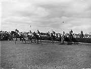 Irish Grand National at Fairyhouse  - Kilballyown wins the big race - owners is Mrs M Lynch.22/04/1957