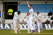 England & Lancashire bowler James Jimmy Anderson  celebrates the wicket of Sri Lanka Dimuth Karunaratne  during day 3 of the first Investec Test Series 2016 match between England and Sri Lanka at Headingly Stadium, Leeds, United Kingdom on 21 May 2016. Photo by Simon Davies.