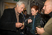 PETER MAYER, LORD AND LADY FOSTER, party to celebrate the 100th issue of Granta magazine ( guest edited by William Boyd.) hosted by Sigrid Rausing and Eric Abraham. Twentieth Century Theatre. Westbourne Gro. London.W11  15 January 2008. -DO NOT ARCHIVE-© Copyright Photograph by Dafydd Jones. 248 Clapham Rd. London SW9 0PZ. Tel 0207 820 0771. www.dafjones.com.