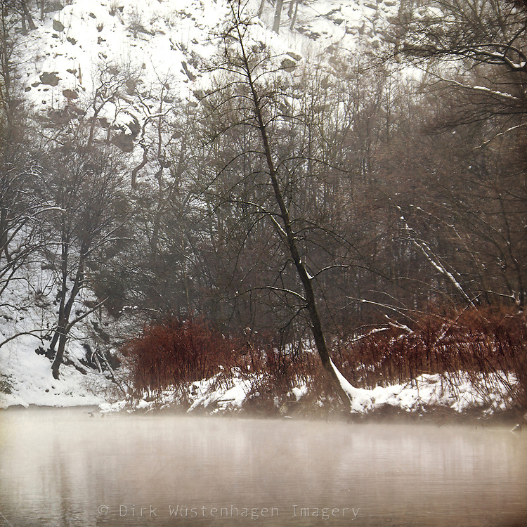 Misty winter morning at river Wupper/Germany.<br /> Prints &amp; more:<br /> http://society6.com/DirkWuestenhagenImagery/silent-cold-river