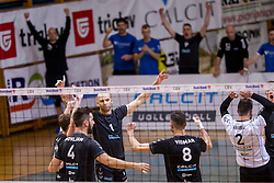 Players of OK Calcit Volley celebrate point during 3rd Leg volleyball match between OK Calcit Volley and Salonit Anhovo in Semifinal of 1. DOL Slovenian National Championship 2017/18, on April 15, 2018 in Sports hall Kamnik, Kamnik, Slovenia. Photo by Urban Urbanc / Sportida