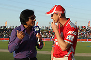 George Bailey of the Kings X1 Punjab is interviewed before the toss during match 15 of the Pepsi Indian Premier League 2014 Season between The Kings XI Punjab and the Kolkata Knight Riders held at the Sheikh Zayed Stadium, Abu Dhabi, United Arab Emirates on the 26th April 2014<br /> <br /> Photo by Ron Gaunt / IPL / SPORTZPICS
