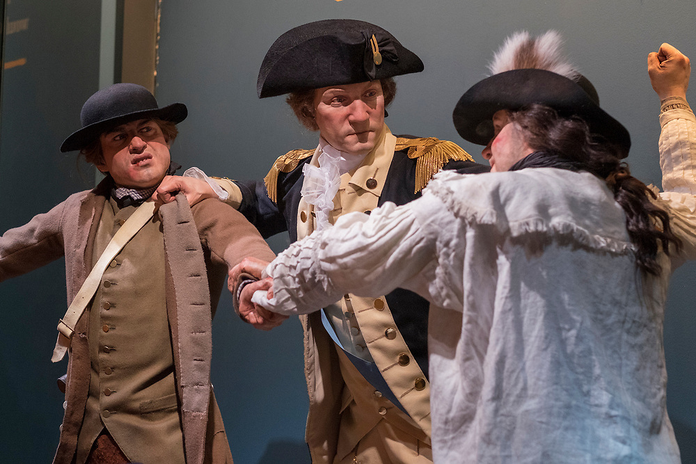 Thursday,  February 23, 2017, The Museum of the American Revolution has installed more than 15 incredibly lifelike figures in a series of historical vignettes that recreate particular moments during the American Revolution. These figures aim to personalize the wide range of people who were involved in the Revolution before the age of photography. Here, A Brawl In Harvard Yard, the scene where George Washington breaks up a brawl in Harvard Yard, based on the eyewitness account of Israel Trask, who was 10 or 11 years old at the time and is also featured in the tableau (child holding a snowball). ED HILLE . Staff Photographer