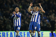 Brighton striker, Tomer Hemed (10) scores his third goal of the game and celebrates during the Sky Bet Championship match between Brighton and Hove Albion and Fulham at the American Express Community Stadium, Brighton and Hove, England on 15 April 2016.