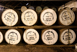 UK SCOTLAND DUFFTOWN 24JUN04 - Oak casks containing single malt Whisky are stored in a warehouse at the Glenfiddich destillery in Dufftown, Scotland, the world's Whisky capital. Glenfiddich is the largest family-owned single malt Whisky destillery worldwide with 80% of production destined for export.....jre/Photo by Jiri Rezac for Frankfurter Allgemeine....© Jiri Rezac 2004....Contact: +44 (0) 7050 110 417..Mobile:  +44 (0) 7801 337 683..Office:  +44 (0) 20 8968 9635....Email:   jiri@jirirezac.com..Web:    www.jirirezac.com....© All images Jiri Rezac 2004 - All rights reserved.