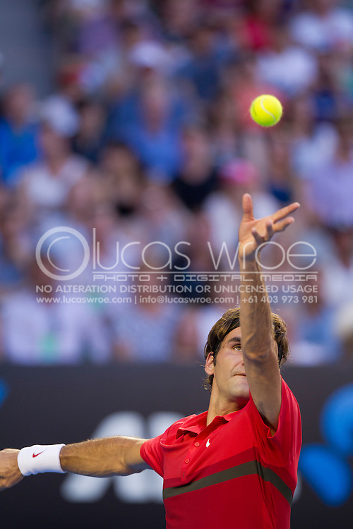 Roger Federer (SUI). 2012 Australian Open Tennis Championship. Mens Singles. Fourth Round. Rod Laver Arena, Melbourne and Olympic Parks, Melbourne, Victoria, Australia. 22/01/2012. Photo By Lucas Wroe