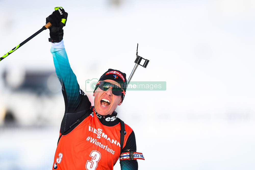March 10, 2019 - –Stersund, Sweden - 190310 Quentin Fillon Maillet of France celebrates after the Men's 12,5 km Pursuit during the IBU World Championships Biathlon on March 10, 2019 in Östersund..Photo: Petter Arvidson / BILDBYRÃ…N / kod PA / 92255 (Credit Image: © Petter Arvidson/Bildbyran via ZUMA Press)