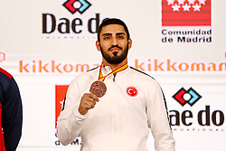 November 10, 2018 - Madrid, Madrid, Spain - Yamanoglu Alpaslan (TUR) wins the bronce medal and the third place of male Kumite 84+ Kg during the Finals of Karate World Championship celebrates in Wizink Center, Madrid, Spain, on November 10th, 2018. (Credit Image: © AFP7 via ZUMA Wire)