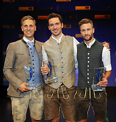 13.07.2019, BMW Welt, Muenchen, GER, Bayerischer Sportpreis Verleihung, im Bild von links: Josef Ferstl, Felix Neureuther, Markus Eisenbichler // during the Bavarian Sports Award at the BMW Welt in Muenchen, Germany on 2019/07/13. EXPA Pictures © 2019, PhotoCredit: EXPA/ SM<br /> <br /> *****ATTENTION - OUT of GER*****