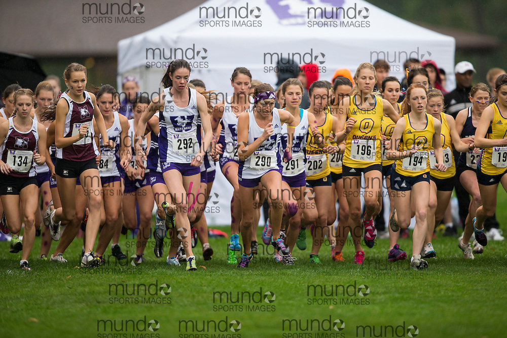 Amanda Truelove (292), Becky Pieterson (290) lead the rest of Western Mustangs at the start of the women's 5K run at the 2013 Western International Cross country meet in London Ontario, Saturday,  September 21, 2013.<br /> Mundo Sport Images/ Geoff Robins