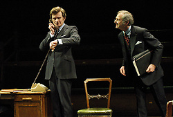 This House by James Graham, directed by Jeremy Herrin, designed by Rae Smith, at The Olivier Theatre, NT, Southbank, London, Great Britain, 28th February 2013. Charles Edwards as Jack Weatherill..Julian Wadham as Humphrey Atkins. Photo by Elliott Franks / i-Images.