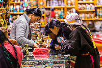 Tibetans shopping, Barkhor Square, Lhasa, Tibet (Xizang), China.
