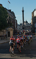 Riders approach Nelson's Column in Trafalgar Square during the Prudential RideLondon-Surrey Classic , Sunday 2nd August 2015. <br /> <br /> Prudential RideLondon is the world's greatest festival of cycling, involving 95,000+ cyclists – from Olympic champions to a free family fun ride - riding in five events over closed roads in London and Surrey over the weekend of 1st and 2nd August 2015. <br /> <br /> Photo: Jon Buckle for Prudential RideLondon<br /> <br /> See www.PrudentialRideLondon.co.uk for more.<br /> <br /> For further information: Penny Dain 07799 170433<br /> pennyd@ridelondon.co.uk