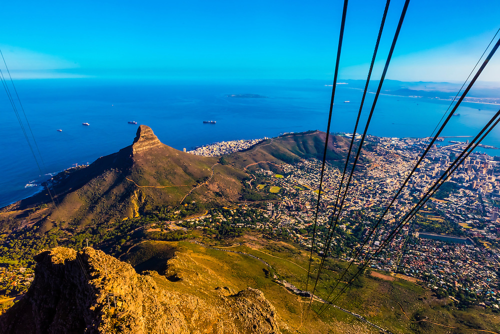 Table Mountain Aerial Cableway, Table Mountain National Park, Cape Town, South Africa. The cable car climbs vertically 2,510 feet.