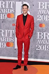 February 20, 2019 - London, United Kingdom of Great Britain and Northern Ireland - Bruce Fielder (Sigala) arriving at The BRIT Awards 2019 at The O2 Arena on February 20, 2019 in London, England  (Credit Image: © Famous/Ace Pictures via ZUMA Press)