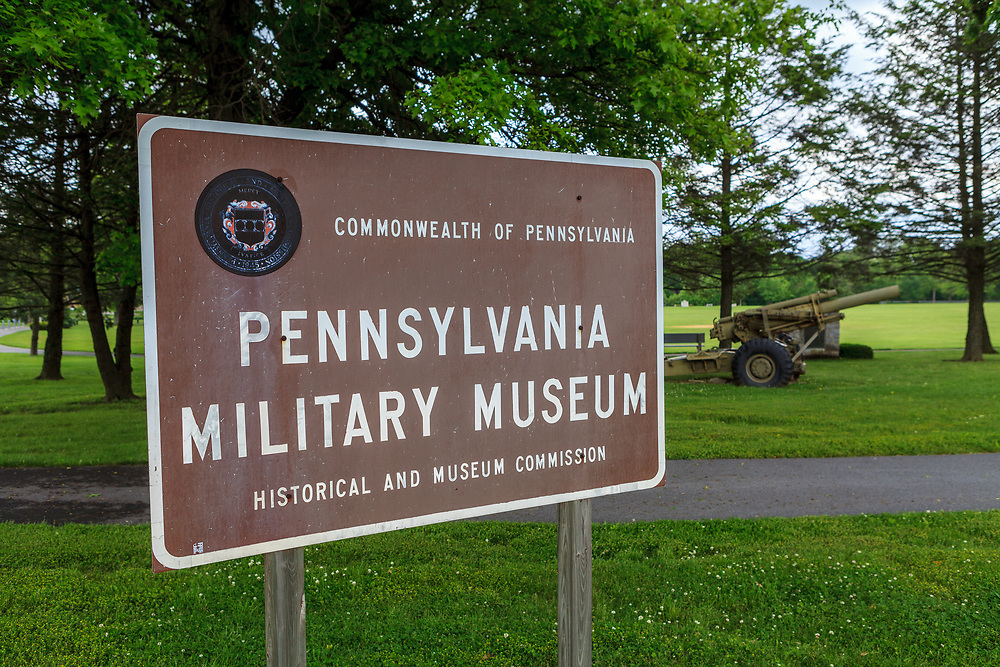 Boalsburg, PA, USA - May 23, 2012: Signs at the Pennsylvania Military Museum honors Pennsylvania military history from 1747 to present day.