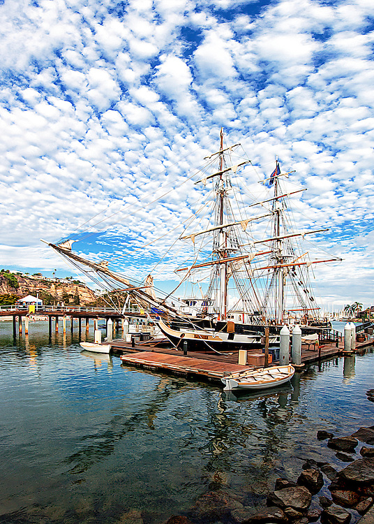 Tall Ship Pilgrim at the dock in Dana Point Harbor, CA