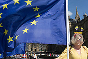 A day after British Prime Minister Boris Johnson successfully asked the Queen to suspend (prorogue) Parliament in order to manoeuvre his Brexit deal with the EU in Brussels, a Remain protester stands with flags and banners while lunchtime TV interviews are filmed by broadcasters on College Green, on 29th August 2019, in Westminster, London, England.