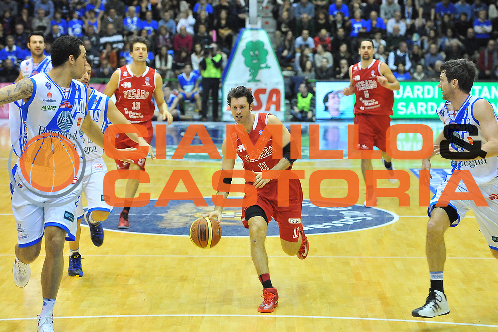 DESCRIZIONE : Campionato 2013/14 Dinamo Banco di Sardegna Sassari - Victoria Libertas Pesaro<br /> GIOCATORE : Andrea Pecile<br /> CATEGORIA : Palleggio Contropiede<br /> SQUADRA : Victoria Libertas Pesaro<br /> EVENTO : LegaBasket Serie A Beko 2013/2014<br /> GARA : Dinamo Banco di Sardegna Sassari - Victoria Libertas Pesaro<br /> DATA : 02/03/2014<br /> SPORT : Pallacanestro <br /> AUTORE : Agenzia Ciamillo-Castoria / Luigi Canu<br /> Galleria : LegaBasket Serie A Beko 2013/2014<br /> Fotonotizia : Campionato 2013/14 Dinamo Banco di Sardegna Sassari - Victoria Libertas Pesaro<br /> Predefinita :