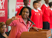 Paula Harris comments during the Read for the NCAA Final Four kick-off at Blackshear Elementary School, September 24, 2015.