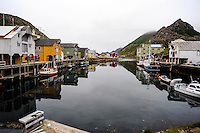 Norway, Vesteraalen. Nyksund is a coastal fishing village on the northern part of Langøya in Vesterålen. Now a popular tourist destination.