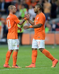 04-06-2014 NED: Vriendschappelijk Nederland - Wales, Amsterdam<br /> Nederland wint met 2-0 van Wales / Wesley Sneijder, Jeremain Lens