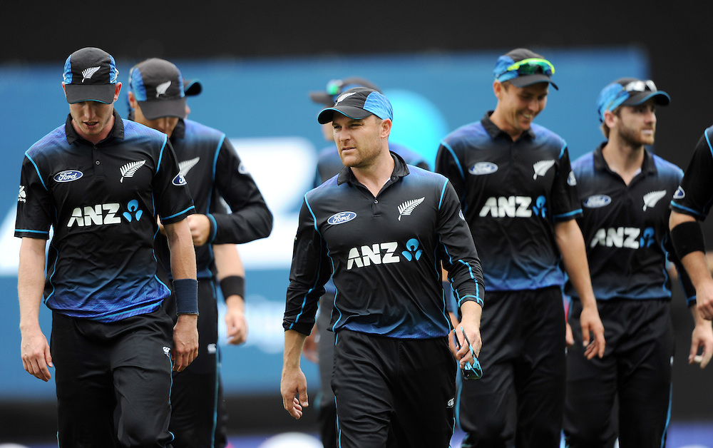 New Zealand's Brendon McCullum leads his team off after the Pakistan innings in the 3rd ODI International Cricket match at Eden Park, Auckland, New Zealand, Sunday, January 31, 2016. Credit:SNPA / Ross Setford