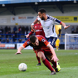 TELFORD COPYRIGHT MIKE SHERIDAN 5/1/2019 - PENALTY. Brendon Daniels of AFC Telford is caught by Jacob Hibbs' trailing leg during the Vanarama Conference North fixture between AFC Telford United and Spennymoor Town.