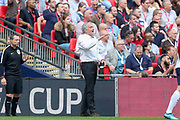 Manchester United Manager Jose Mourinho gestures during the The FA Cup Semi Final match between Manchester United and Tottenham Hotspur at Wembley Stadium, London, England on 21 April 2018. Picture by Phil Duncan.