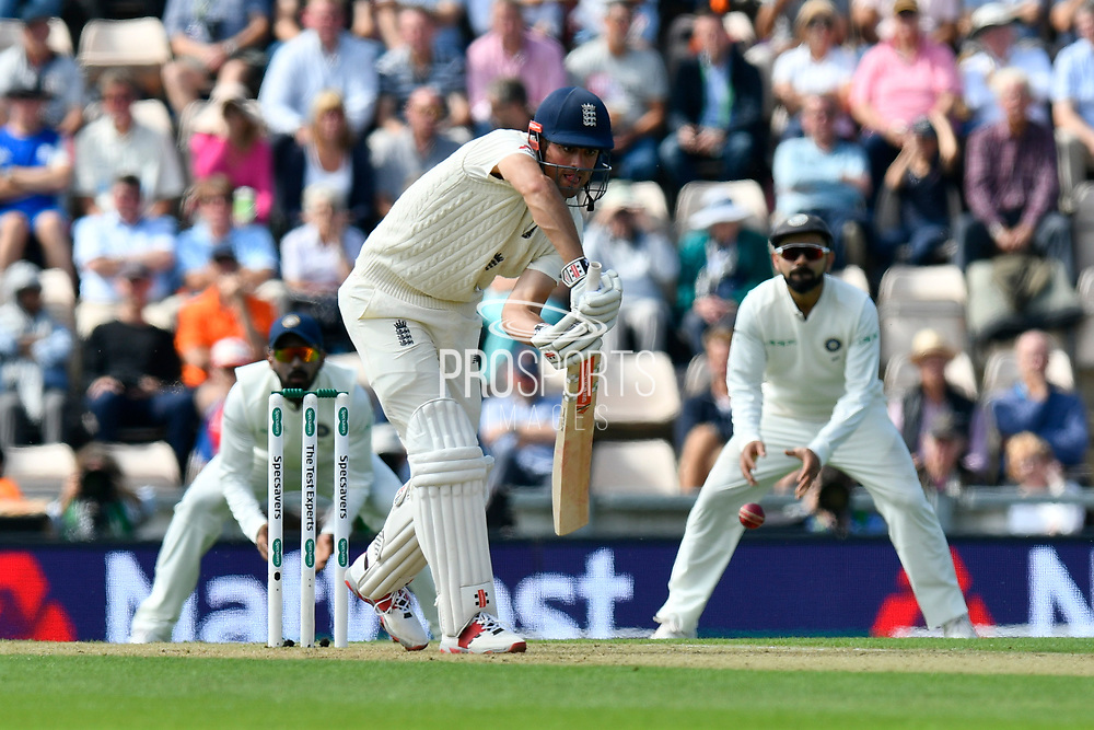 Alastair Cook of England batting during the first day of the 4th SpecSavers International Test Match 2018 match between England and India at the Ageas Bowl, Southampton, United Kingdom on 30 August 2018.