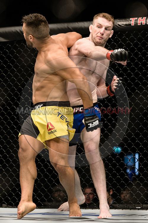 "GLASGOW, UNITED KINGDOM, JULY 16, 2017: Danny Henry (blue trunks) versus Daniel Teymur during ""UFC Fight Night Glasgow: Nelson vs. Ponzinibbio"" inside the SSE Hydro Arena in Glasgow, Scotland on Sunday, July 16, 2017."