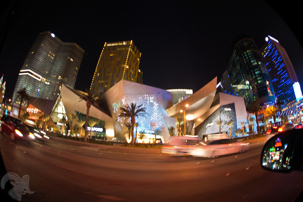 A fisheye view of the Crystal Mall on Las Vegas boulevard, which houses businesses such as Gucci, Tiffany, Louis Vuitton, Cartier, and Dior.