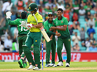 Cricket - 2019 ICC Cricket World Cup - Group Stage: South Africa vs. Bangladesh<br /> <br /> Bangladesh's Mustafizur Rahman celebrates taking the wicket of South Africa's JP Duminy, at The Kia Oval.<br /> <br /> COLORSPORT/ASHLEY WESTERN