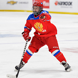 WHITBY, - Dec 14, 2015 -  Game #4 - Russia vs. Canada East at the 2015 World Junior A Challenge at the Iroquois Park Recreation Complex, ON. Ilya Avramenko #14 of Team Russia follows the play during the first period.<br /> (Photo: Shawn Muir / OJHL Images)