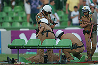 20091206: CURITIBA, BRAZIL - Coritiba vs Fluminense: Brazilian League 2009. In picture: an injured policeman laying on the pitch, after being attacked by Coritiba supporters. PHOTO: CITYFILES