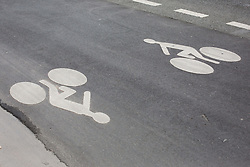 Logo of Cyclist on a cycle track on Rivoli Street in Paris on May 4, 2020, on the forty-ninth day of a strict lockdown in France, in place to attempt to stop the spread of the new coronavirus (COVID-19). Photo by Raphael Lafargue/ABACAPRESS.COM