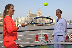 Liverpool, England - Sunday, June 10, 2007: Olga Savchuk (L) and Ashley Harkleroad play tennis on the deck of the Royal Daffodil Mersey Ferry as they take a cruise along Liverpool's famous River Mersey. The WTA tennis players are in the city for the Liverpool International Tennis Tournament which starts on Tuesday June 12th. For more information please visit www.liverpooltennis.co.uk. (Pic by David Rawcliffe/Propaganda)
