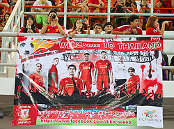 BANGKOK, THAILAND - Saturday, July 27, 2013: Liverpool supporter's banner 'Welcome to Thailand' during a training session at the Rajamangala National Stadium ahead of their preseason friendly match against Thailand. (Pic by David Rawcliffe/Propaganda)
