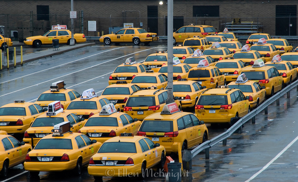 Taxis Lined Up Outside LaGuardia Airport in Queens, New York on a Busy Holiday Weekend