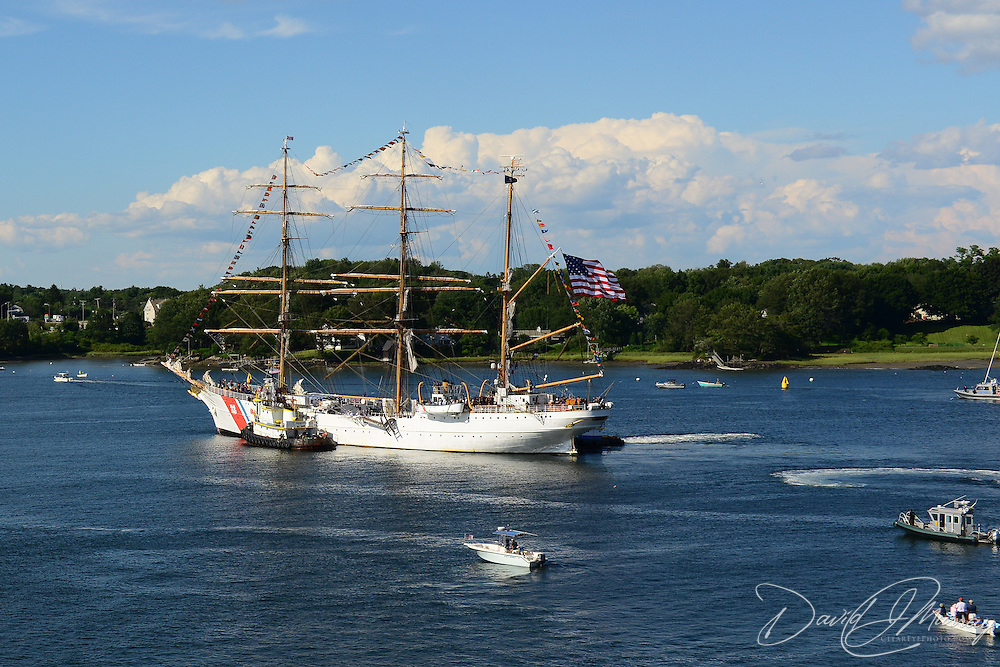 The U.S. Coast Guard Eagle sails into Portsmouth Harbor on August 2, 2013, to participate in Sail Portsmouth, hosted by the Piscataqua Maritime Commission. Kittery ME is in the background.