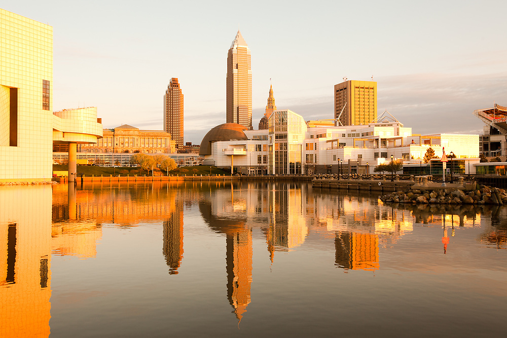 Skyline of downtown Cleveland from the harbor, Ohio, USA