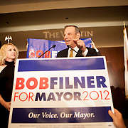 Mayoral candidate Bob Filner addresses supporters at The Westin Gaslamp Quarter Hotel.