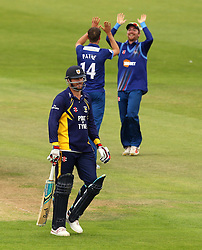 Gloucestershire's David Payne celebrates the wicket of Durham's John Hastings - Mandatory by-line: Robbie Stephenson/JMP - 07966386802 - 04/08/2015 - SPORT - CRICKET - Bristol,England - County Ground - Gloucestershire v Durham - Royal London One-Day Cup